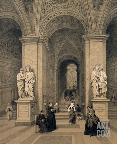 Sacred Staircase of Santi Sanctuary in Rome, Illustration from the Album 'Rome Dans Sa Grandeur' Stretched Canvas Print
