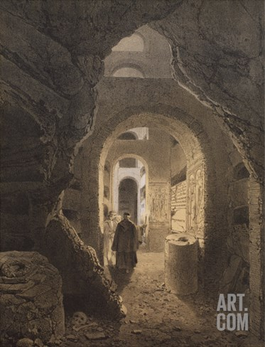 Catacombs of San Calixto in Rome, Illustration from the Album 'Rome Dans Sa Grandeur', 1870 Stretched Canvas Print