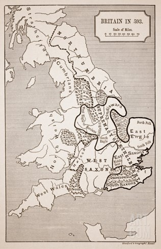 Map of Britain in 593, Printed by Stanford's Geographical Establishment Stretched Canvas Print