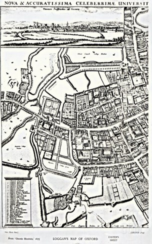 Loggan's Map of Oxford, Eastern Sheet, from 'Oxonia Illustrated', published 1675 Stretched Canvas Print