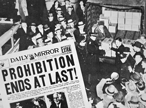 Headline Declaring the End of Prohibition, 6th December, 1933 Stretched Canvas Print