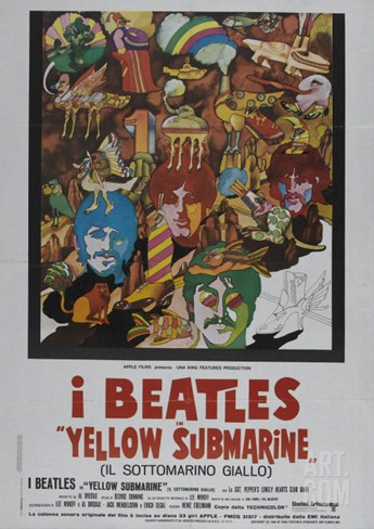 Yellow Submarine, Italian Movie Poster, 1968 Stretched Canvas Print
