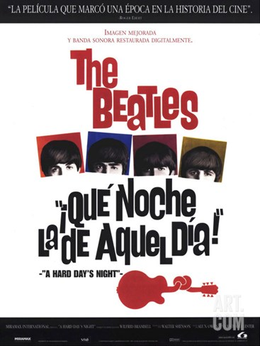 A Hard Day's Night, Spanish Movie Poster, 1964 Stretched Canvas Print