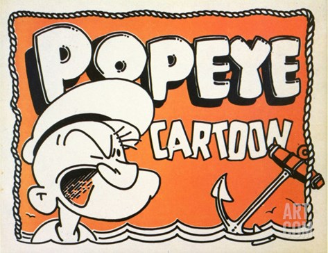 Popeye Cartoon, 1937 Stretched Canvas Print