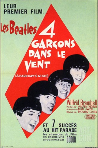 A Hard Day's Night, French Movie Poster, 1964 Stretched Canvas Print