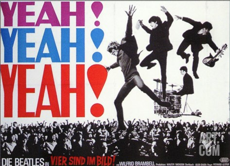 A Hard Day's Night, German Movie Poster, 1964 Stretched Canvas Print