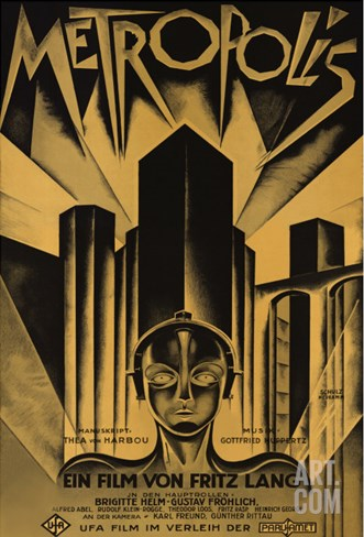 Metropolis, German Movie Poster, 1926 Stretched Canvas Print