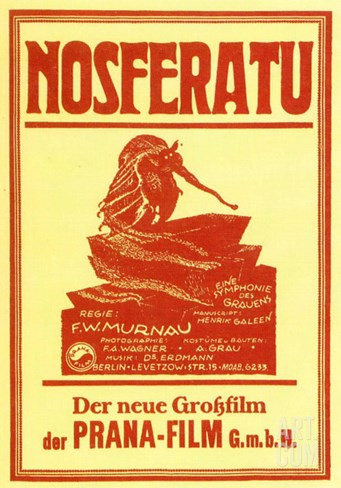 Nosferatu, a Symphony of Horror, German Movie Poster, 1922 Stretched Canvas Print