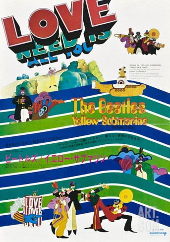Yellow Submarine, Japanese Movie Poster, 1968 Stretched Canvas Print