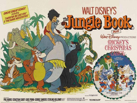 The Jungle Book, UK Movie Poster, 1967 Stretched Canvas Print