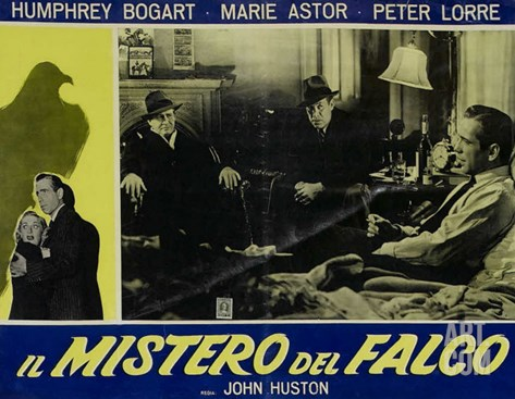 The Maltese Falcon, Italian Movie Poster, 1941 Stretched Canvas Print