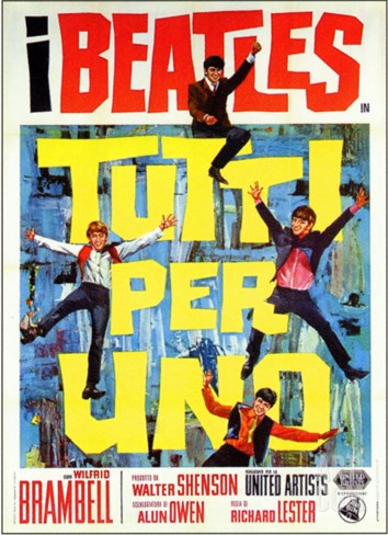 A Hard Day's Night, Italian Movie Poster, 1964 Stretched Canvas Print