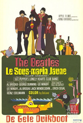 Yellow Submarine, French Movie Poster, 1968 Stretched Canvas Print
