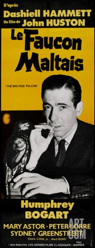 The Maltese Falcon, French Movie Poster, 1941 Stretched Canvas Print