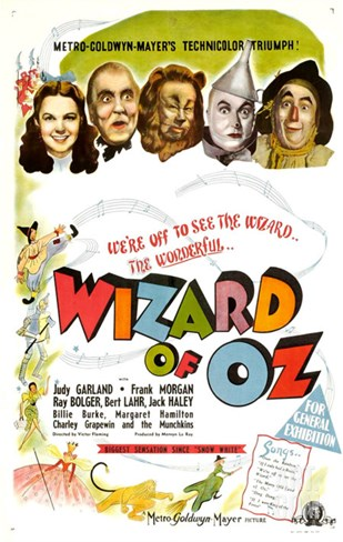 The Wizard of Oz, UK Movie Poster, 1939 Stretched Canvas Print