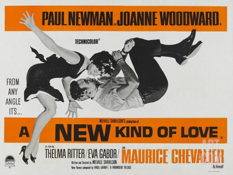 A New Kind of Love, UK Movie Poster, 1963 Stretched Canvas Print