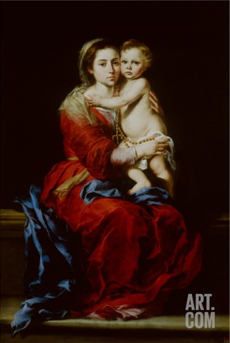Madonna and Child or Virgin of the Rosary Stretched Canvas Print