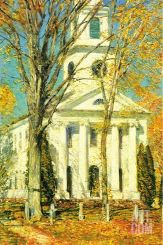 Church At Old Lyme, Connecticut Stretched Canvas Print