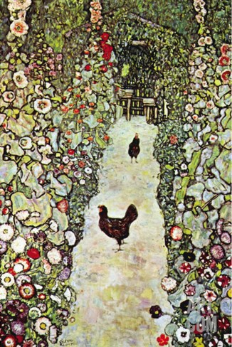 Garden Path with Chickens Stretched Canvas Print