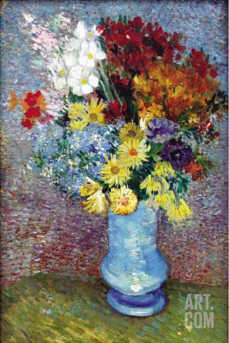 Flowers In a Blue Vase Stretched Canvas Print