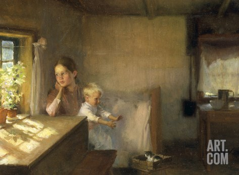 A Woman and Child in a Sunlit Interior, 1889 Stretched Canvas Print
