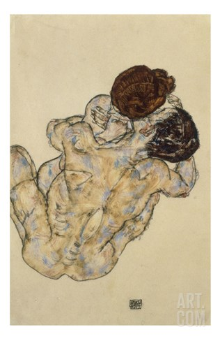 Umarmung (Embrace), 1917 Stretched Canvas Print