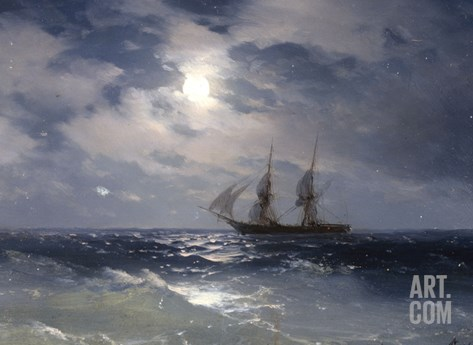 Sailing ship in the moonlight on a calm sea, 1874 Stretched Canvas Print