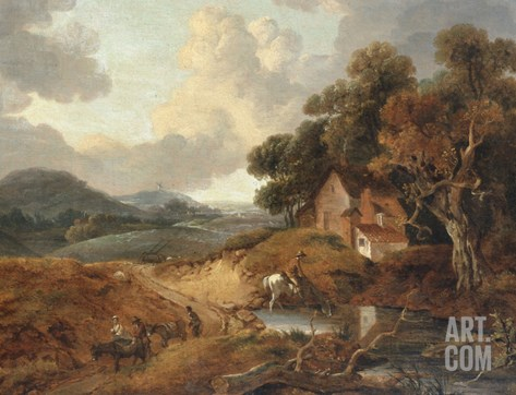 Landscape with Rustics and Donkeys on a Path Stretched Canvas Print
