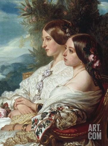Queen Victoria and Victoire, Duchess de Nemours Stretched Canvas Print