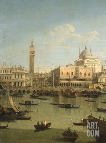 A Capriccio View of the Piazzetta with the Church of Il Redentore Stretched Canvas Print