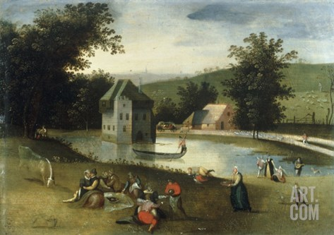 A Landscape with Gentlefolk Feasting, a Moated Castle in the Background Stretched Canvas Print