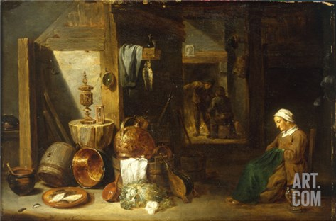 An Interior with a Woman Seated beside an Arrangement of Utensils Stretched Canvas Print