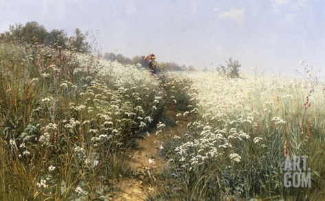 A Lady with a Parasol in a Meadow with Cow Parsley, 1881 Stretched Canvas Print