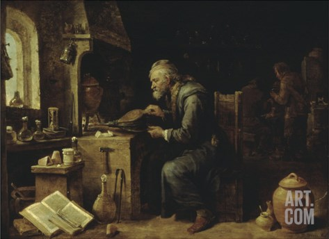 An Alchemist in his Workshop, early 1650s Stretched Canvas Print