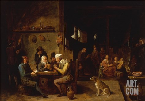 A Farmhouse Interior with Peasants at a Table Playing Cards Stretched Canvas Print