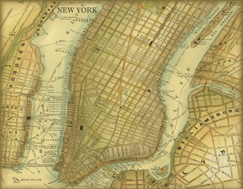 Map of New York Stretched Canvas Print