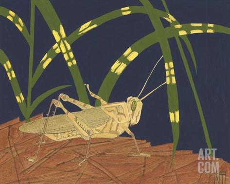 Ornamental Grasshopper I Stretched Canvas Print