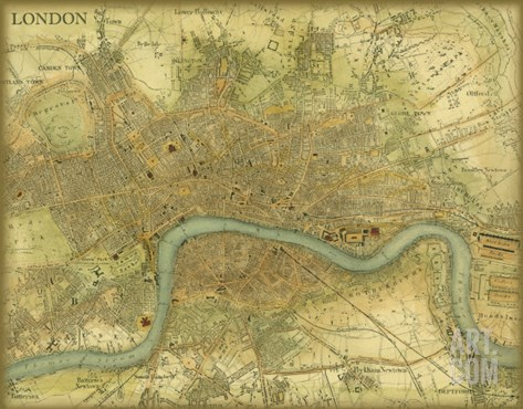 Map of London Stretched Canvas Print