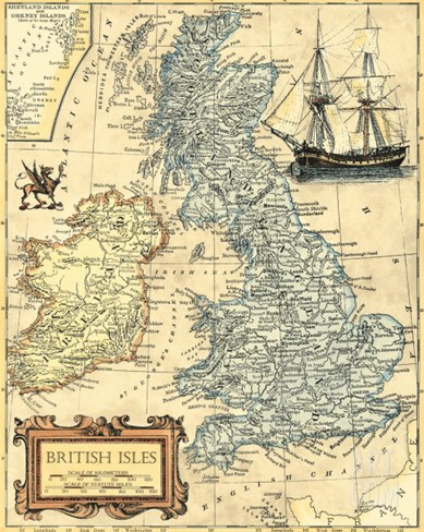 British Isles Map Stretched Canvas Print
