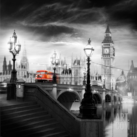 London Bus III Stretched Canvas Print