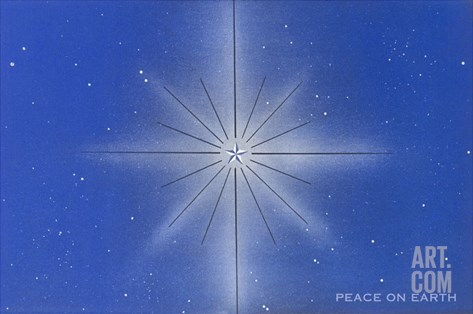 Peace on Earth, Star Stretched Canvas Print