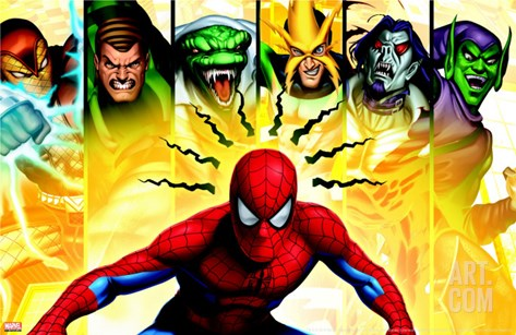 Spider-Man, Shocker, Sandman, Lizard, Electro, Morbius and Green Goblin Stretched Canvas Print