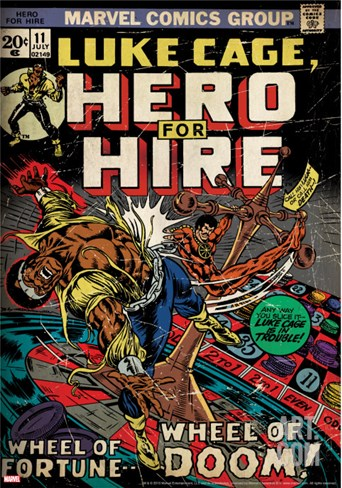 Marvel Comics Retro: Luke Cage, Hero for Hire Comic Book Cover No.11(aged) Stretched Canvas Print