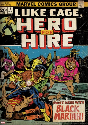 Marvel Comics Retro: Luke Cage, Hero for Hire Comic Book Cover No.5, Black Mariah! (aged) Stretched Canvas Print