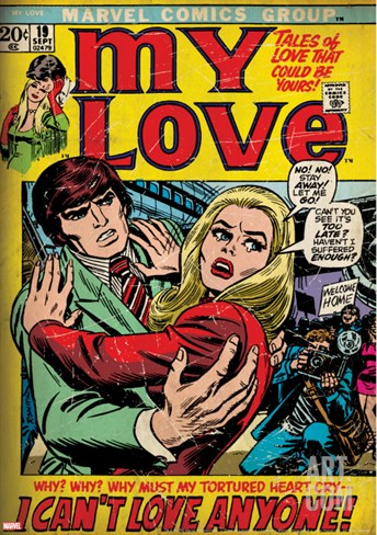 Marvel Comics Retro: My Love Comic Book Cover No.19, Pushing Away, I Can't Love Anyone! (aged) Stretched Canvas Print
