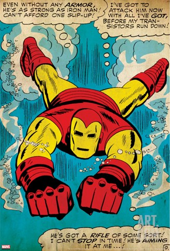 Marvel Comics Retro: The Invincible Iron Man Comic Panel, Swimming (aged) Stretched Canvas Print