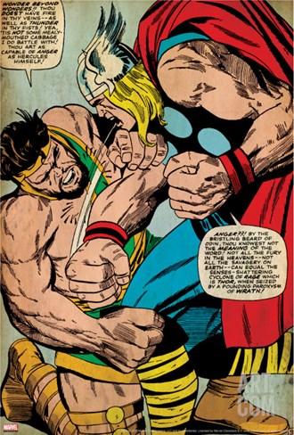 Marvel Comics Retro: Captain America Comic Panel, Hercules (aged) Stretched Canvas Print
