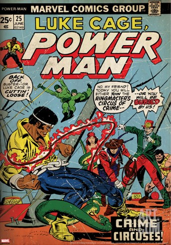 Marvel Comics Retro: Luke Cage, Hero for Hire Comic Book Cover No.25, Crime and Circus (aged) Stretched Canvas Print