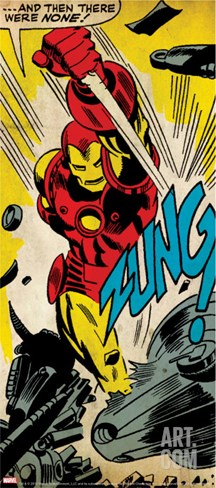 Marvel Comics Retro: The Invincible Iron Man Comic Panel, Fighting, Charging and Smashing (aged) Stretched Canvas Print