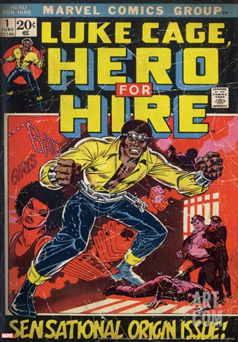 Marvel Comics Retro: Luke Cage, Hero for Hire Comic Book Cover No.1, Origin (aged) Stretched Canvas Print